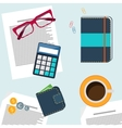 Office desktop with item icons vector image