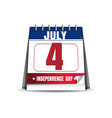 desktop calendar with the date of 4 july vector image