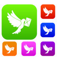dove carrying envelope set collection vector image