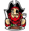 pirate eat steak vector image