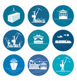 set of marine freight transportation icons vector image