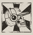 skull music side view vintage grunge design vector image
