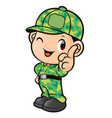 soldier character front instruction isolated on vector image