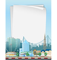 Paper template with city scene in background vector image