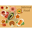 Tatar cuisine dinner with desserts icon vector image