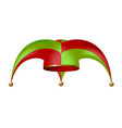 jester hat in red and green design vector image