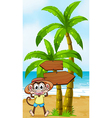 A monkey at the seashore near the wooden vector image vector image