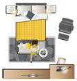 Bedroom top view set 1 vector image