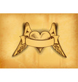 heart with the wings on the old paper vector image vector image