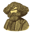 Bearded man with long hair in engraved style vector image