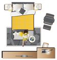 Bedroom top view set 1 vector image