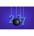 Bowling ball and 2017 hanging on strings vector image