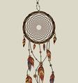 Hand drawn native american dreamcatcher vector image