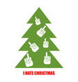 I hate Christmas Christmas tree for bad children vector image