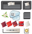 Living room furniture top view set 6 for interior vector image