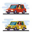 man and girl driving car vector image