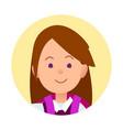 portrait of brunette joyful woman closeup icon vector image