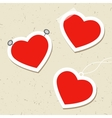 Set of heart tags with pins tape and thread vector image