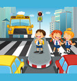 school children crossing street in city vector image