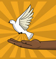 black hand and flying pigeon peace free concept vector image