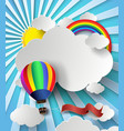 rainbow on cloud with hot air balloon vector image