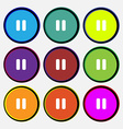 pause icon sign Nine multi-colored round buttons vector image