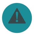 Warning flat soft blue colors round button vector image
