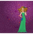 fashionable doodle women with long hair vector image