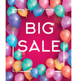 Big sale poster on red background with balloons vector image vector image