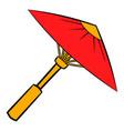asian red parasol or umbrella icon cartoon vector image