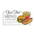 Fast food design menu vector image
