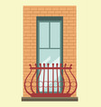 tall window with small elegant balcony in brick vector image