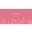 Hello spring letters on meadow pink background vector image