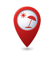 Beach icon on red map pointer vector image vector image