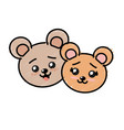cute couple wild animal with beautiful expression vector image