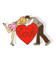 red heart and a loving couple vector image