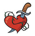 Tattoo heart and knife vector image