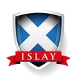 Flag of Scotland with Islay sign on ribbon vector image