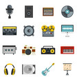 recording studio items icons set in flat style vector image vector image