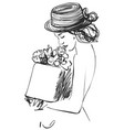 beautiful women in the hat with gift fashion vector image