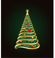 golden decorative christmas tree with abstract vector image vector image