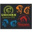 set - Unicorns and horses equestrian labels badges vector image