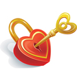 Key and lock in heart shape vector image