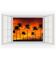 Open window with palm tree view of sunset vector image