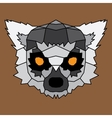 Gray low poly lined lemur vector image