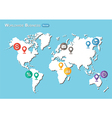 World Map with Pointers and Business icon vector image