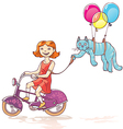 Girl and Cat vector image vector image