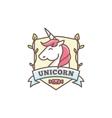 cute unicorn logo for baby shop in cartoon vector image