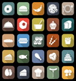 Food flat icons with long shadow vector image