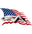 girl and the US flag vector image